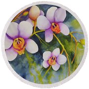 Orchids In My Garden Round Beach Towel