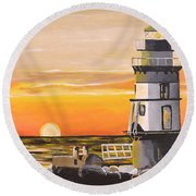 Orient Point Lighthouse Round Beach Towel