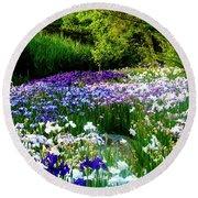 Oriental Ensata Iris Garden Round Beach Towel by Carol F Austin