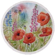 Round Beach Towel featuring the painting Oriental Poppies Meadow by Carla Parris