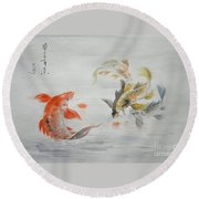 Original Animal  Oil Painting Art- Goldfish Round Beach Towel by Hongtao     Huang
