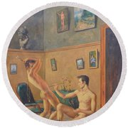 Original Classic Oil Painting Gay  Male Nude Man Body Art  On Canvas#16-2-6-16 Round Beach Towel by Hongtao     Huang