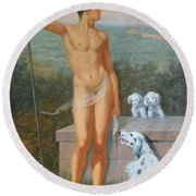 Original Classic Oil Painting Man Body Art-male Nude And Dogs #16-2-4-11 Round Beach Towel by Hongtao     Huang