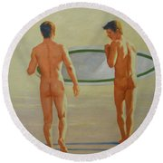 Original  Man Body Oil Painting  Gay Art -two Male Nude By The Sea#16-2-3-02 Round Beach Towel by Hongtao     Huang