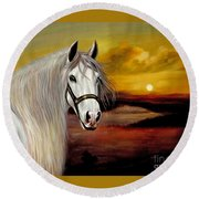 Original Oil Painting Animal Art-horse In Sunset #015 Round Beach Towel by Hongtao     Huang