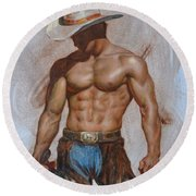 Original Oil Painting Gay Man Body Art-cowboy#16-2-5-19 Round Beach Towel by Hongtao     Huang