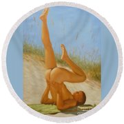 Original Oil Painting Man Art Male Nude On Sand On Canvas#16-2-5-05 Round Beach Towel