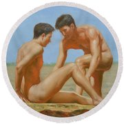 Original Oil Painting Man Body Art -male Nude By Hongtao#16-1-31-05 Round Beach Towel by Hongtao     Huang