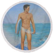 Original Oil Painting Man Body Art-male Nude On Seaside #16-2-1-03 Round Beach Towel by Hongtao     Huang