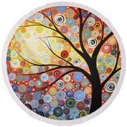 Original Painting Print Titled Celestial Sunset Round Beach Towel