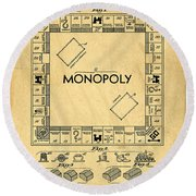 Original Patent For Monopoly Board Game Round Beach Towel