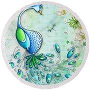 Original Peacock Painting Bird Art By Megan Duncanson Round Beach Towel