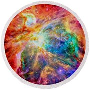 Orions Heart-where The Stars Are Born Round Beach Towel