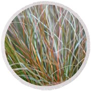 Round Beach Towel featuring the photograph Ornamental Grass Abstract by E Faithe Lester