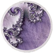 Ornate Lavender Fractal Abstract One  Round Beach Towel