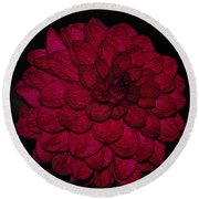 Ornate Red Dahlia Round Beach Towel by Jeanette C Landstrom