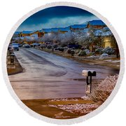Oro Valley Winter No.54 Round Beach Towel