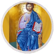 Orthodox Icon Of Jesus In Blue Round Beach Towel by Munir Alawi