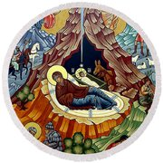 Orthodox Nativity Of Christ Round Beach Towel by Munir Alawi