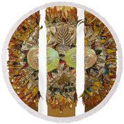 Round Beach Towel featuring the tapestry - textile Osun Sun by Apanaki Temitayo M