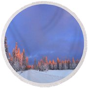Other Side Of A Winter Sunset Round Beach Towel