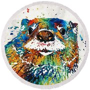 Otter Art - Ottertude - By Sharon Cummings Round Beach Towel by Sharon Cummings