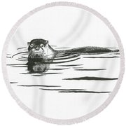 Otter In The Water Round Beach Towel