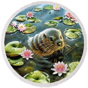 Otter In Water Lilies Round Beach Towel