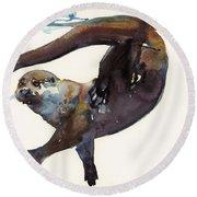 Otter Study II  Round Beach Towel by Mark Adlington