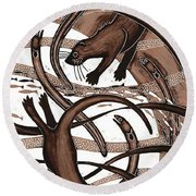 Otter With Eel, 2013 Woodcut Round Beach Towel