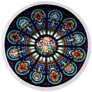 Our Blessed Mother Round Beach Towel by Debby Pueschel
