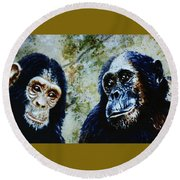 Round Beach Towel featuring the painting Our Closest Relatives by Hartmut Jager