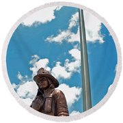Round Beach Towel featuring the photograph Our Heroes by Charlotte Schafer