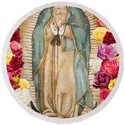 Round Beach Towel featuring the digital art Our Lady Of Guadalupe by Nancy Ingersoll