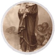 Our Lady Of The Angels Round Beach Towel