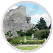 Our Lady Of The Woods Shrine Round Beach Towel