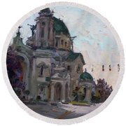 Our Lady Of Victory Basilica Round Beach Towel