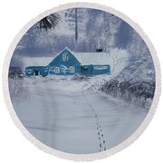 Our Little Cabin In The Snow Round Beach Towel