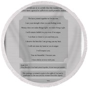 Our Promises Certificate Round Beach Towel