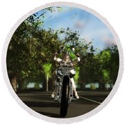Round Beach Towel featuring the digital art Out For A Ride... by Tim Fillingim