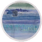 Out House In Nowhere Round Beach Towel