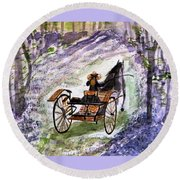 Out In The Meadowbrook Cart Round Beach Towel