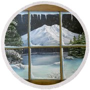Out My Window-bright Winter's Night Round Beach Towel