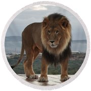 Out Of Africa Lion 3 Round Beach Towel