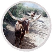 Out Of Africa  Long Horns Round Beach Towel