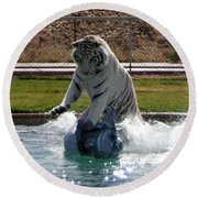 Out Of Africa Tiger Splash 1 Round Beach Towel