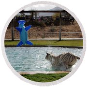 Out Of Africa Tiger Splash 3 Round Beach Towel
