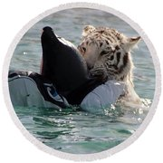 Out Of Africa Tiger Splash 4 Round Beach Towel