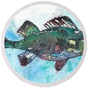 Round Beach Towel featuring the painting Out Of School by Barbara Jewell