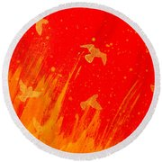Out Of The Fire Round Beach Towel by Stefanie Forck